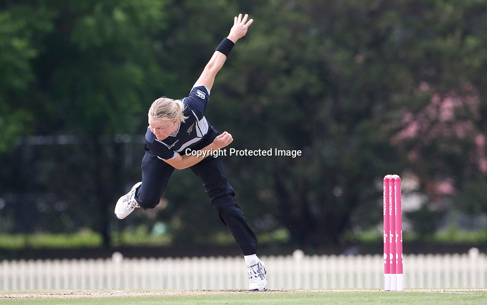 Sydney-March 14:  during the match between England and New Zealand in the Super 6 stage of the ICC Women's World Cup Cricket match at Bankstown Oval, Sydney, Australia on March 14 2009, England made 201 for 5 in their 50 overs.. Photo by Tim Clayton.Sydney-March 14: Kate Pulford bowling during the match between England and New Zealand in the Super 6 stage of the ICC Women's World Cup Cricket match at Bankstown Oval, Sydney, Australia on March 14 2009, England made 201 for 5 in their 50 overs.. Photo by Tim Clayton.