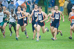 Andrew Zohorsky (178/Unattached),  Ryan Foster (184/University of Virginia), and  Robbie Eckardt (182/University of Virginia) at the start of the race.  The Lou Onesty Invitational Cross Country meet was hosted by the University of Virginia XC team and held at Panorama Farms near Charlottesville, VA on September 6, 2008.  Athletes endured rain and wind from Tropical Storm Hanna during the race.