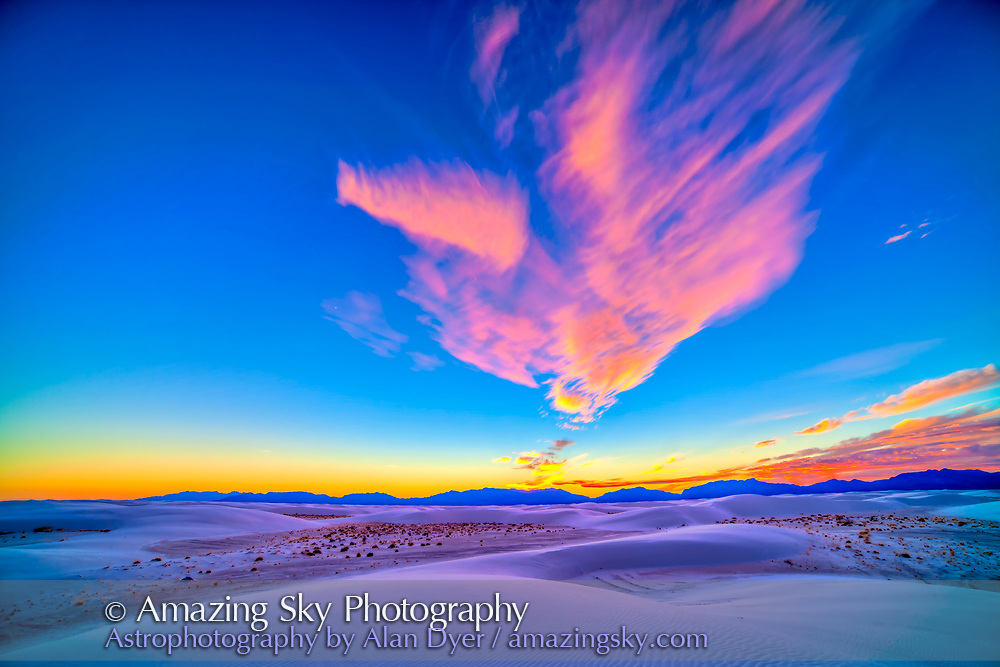 Sunset colours over White Sands National Monument, New Mexico, December 10, 2013. Venus is at left of centre. This is an HDR (High Dynamic Range) stack of 7 exposures at 2/3 stop increments from -2 to +2 EV, processed first with ACR then with Photomatix Pro. Images taken with the 14mm Rokinon lens at f/4 and Canon 5D MkII at ISO 100. While colour vibrancy has been enhanced the colours to the eye were quite vivid. The HDR technique brings out details in the dark ground while preserving the bright sky.
