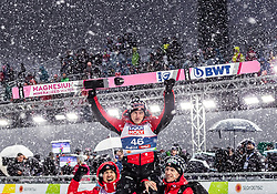 01.03.2019, Seefeld, AUT, FIS Weltmeisterschaften Ski Nordisch, Seefeld 2019, Skisprung, Herren, im Bild Kamil Stoch (POL), Stefan Hula (POL), Goldmedaillengewinner und Weltmeister Dawid Kubacki (POL) // Kamil Stoch of Poland, Stefan Hula of Poland, Gold Medalist and worldchampion Dawid Kubacki of Poland during the men's Skijumping of FIS Nordic Ski World Championships 2019. Seefeld, Austria on 2019/03/01. EXPA Pictures © 2019, PhotoCredit: EXPA/ JFK