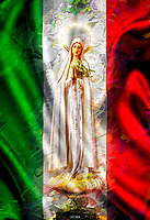 """Our Lady of Fatima embraces the Flag of Italy - Painting by Dino Carbetta""…<br />