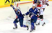 Joie Damien Fleury /  Kevin Hecquefeuille  - 05.05.2015 - Autriche / France  - Championnats du Monde de Hockey sur Glace 2015 -Prague<br />Photo : Xavier Laine / Icon Sport
