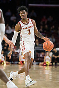 Southern California Trojans guard Elijah Weaver (3) dribbles against the Pepperdine Waves during an NCAA college basketball game, Tuesday, Nov. 19, 2019, in Los Angeles. USC defeated Pepperdine 91-84. (Jon Endow/Image of Sport)
