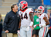 Georgia head coach Kirby Smart<br />  screams at Georgia inside linebacker Juwan Taylor (44) during practice before the start of a college football game between Notre Dame and Georgia in South Bend, Indiana, on Saturday, Sept. 9, 2017. (Photo/Casey Sykes, www.caseysykes.com)