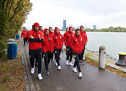 VIENNA, AUSTRIA - Thursday, October 6, 2016: Wales' James Chester, Joe Allen, David Cotterill, Chris Gunter, Neil Taylor and goalkeeper Adam Davies during a pre-match walk at the Hilton Danube Waterfront Hotel ahead of the 2018 FIFA World Cup Qualifying Group D match against Austria. (Pic by David Rawcliffe/Propaganda)