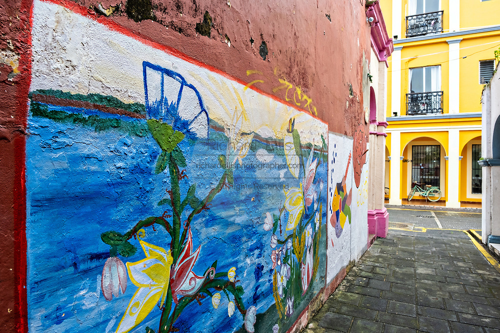 A mural honoring the local musical tradition covers Rocha alley in Tlacotalpan, Veracruz, Mexico. The tiny town is painted a riot of colors and features well preserved colonial Caribbean architectural style dating from the mid-16th-century.