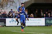 AFC Wimbledon striker Dominic Poleon (10) scores a goal 2-0 and celebrates with AFC Wimbledon midfielder Chris Whelpdale (11) during the EFL Sky Bet League 1 match between AFC Wimbledon and Bury at the Cherry Red Records Stadium, Kingston, England on 19 November 2016. Photo by Stuart Butcher.