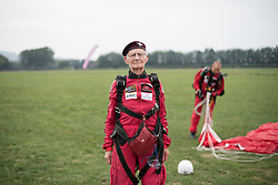 © Licensed to London News Pictures. 25/08/2016. <br /> <br /> Pictured: A portrait of D-Day veteran Fred Glover in his Parachute Regiment beret after parachuting into Sarum Airfield.<br /> <br /> <br /> Fred Glover and Ted Pieri, two D-Day veterans who are both 90 years old have parachuted into Sarum Airfield, Wiltshire on Thursday 25th August 2016, 72 years after D-Day having earlier in the month parachuted into Merville Battery in France.<br /> <br /> Photo credit should read Max Bryan/LNP