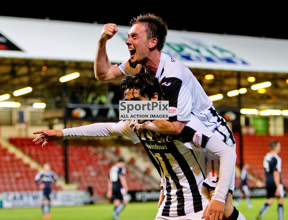 Dunfermline Athletic v Dundee Scottish League cup East End Park 25 August 2015<br /> DAFC goalscorers Joe Cardle and Faissal El Bahktaoui celebrate as Faissal El Bahktaoui makes it 3-1<br /> CRAIG BROWN | sportPix.org.uk