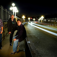Members of the City of Angeles Paranormal Investigation Group, Jason Carrasco, Sydney Schultz and Gil Saldana on the Colorado St. bridge in Pasadena. Nov. 15, 2009. (SGVN/Staff Photo by Eric Reed)