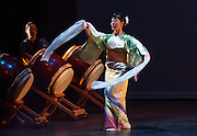 "Fujinami Kai dancer Michelle Sugahiro performs at the Portland Taiko concert ""Three: 3 conversations with Taiko"", Winningstad Theatre, Portland Center for the Performing Arts, Portland, Oregon."