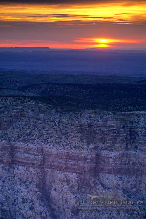 Sunrise over the rim of Grand Canyon from Desert View, South Rim, Grand Canyon Nat. Pk., ARIZONA