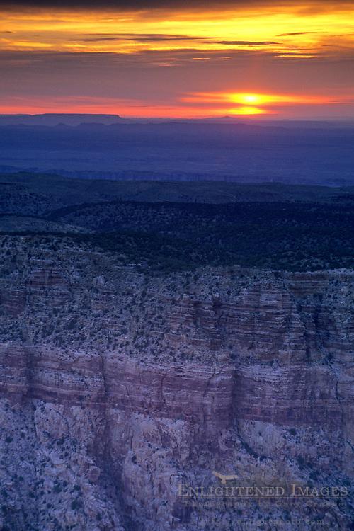 Sunrise over the rim of Grand Canyon from Desert View, South Rim, Grand Canyon Nat. Pk., ARIZONA