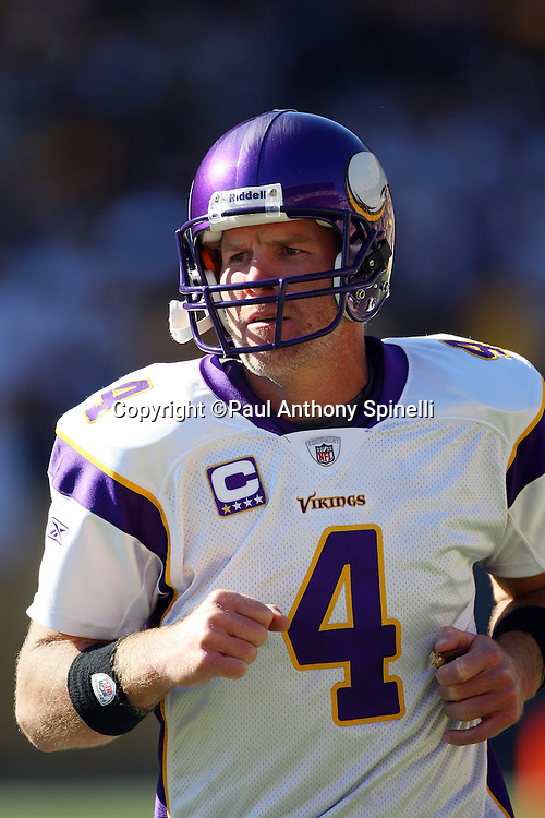 Minnesota Vikings quarterback Brett Favre (4) comes out of the tunnel for the second half during the NFL football game against the Pittsburgh Steelers, October 25, 2009 in Pittsburgh, Pennsylvania. The Steelers won the game 27-17. (©Paul Anthony Spinelli)