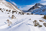 Looking down from Piute Pass in winter, Inyo National Forest, Sierra Nevada Mountains, California