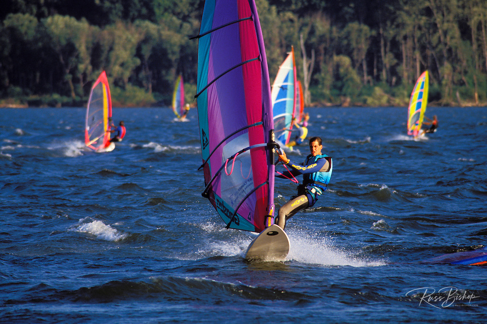 "Windsurfing at ""The Hatchery"", Columbia River Gorge, Washington"