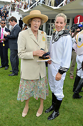 Left to right, DAME SHAN LEGGE-BOURKE and her grandaughter TAMARA WARHURST at day 3 of the Qatar Glorious Goodwood Festival at Goodwood Racecourse, Chechester, West Sussex on 28th July 2016.