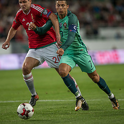 September 3, 2017 - Budapest, Hungary - Richard Gizmics (L) of Hungary in action with Cristiano Ronaldo (R) of Portugal during the World Cup qualification match between Hungary and Portugal at Groupama Arena on Nov 03, 2017 in Budapest, Hungary. (Credit Image: © Robert Szaniszlo/NurPhoto via ZUMA Press)