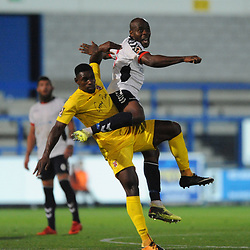 TELFORD COPYRIGHT MIKE SHERIDAN 14/8/2018 - Theo Streete of AFC Telford battles for the ball during the Vanarama Conference North fixture between AFC Telford United and Brackley Town.