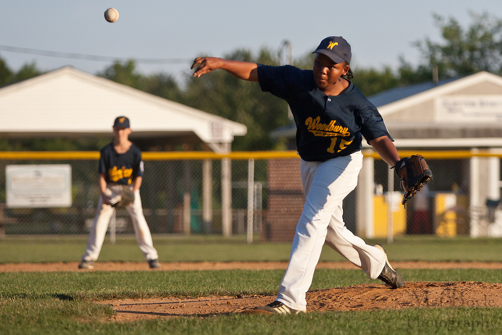 Woodbury's Brandon Wilcox-Gaines pitches during the District 15 Little League final against West Deptford held in Clayton on Thursday July 14th.
