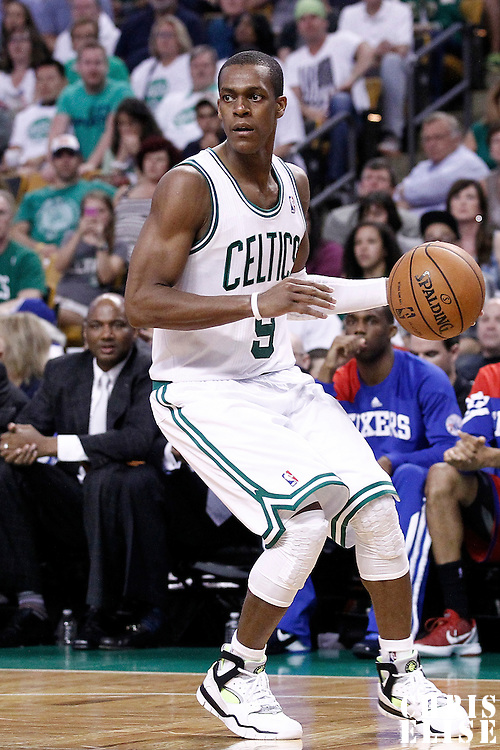 26 May 2012: Boston Celtics point guard Rajon Rondo (9) looks to pass the ball during the Boston Celtics 85-75 victory over the Philadelphia Sixer, in Game 7 of the Eastern Conference semifinals playoff series, at the TD Banknorth Garden, Boston, Massachusetts, USA.