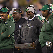 Nov 12, 2015; East Rutherford, NJ, USA;  New York Jets head coach Todd Bowles looks on in the 1st quarter against the Buffalo bills at MetLife Stadium. Mandatory Credit: William Hauser-USA TODAY Sports
