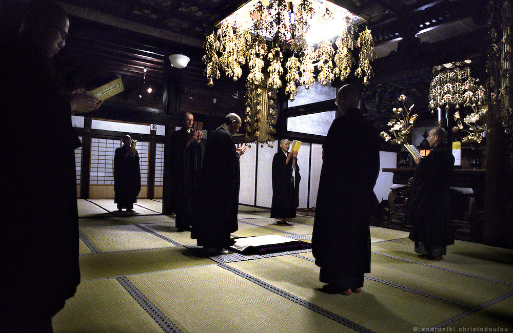 LIVING ZEN - HOSHINJI MONASTERY, OBAMA-JAPAN..Rehearsing the ceremony for Buddha's birthday.