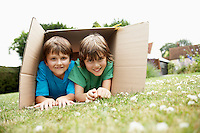 Two in backyard lying in cardboard box portrait