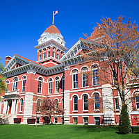 Crown Point Courthouse in spring. The Lake County Courthouse was Built in 1878 and is nicknamed The Grand Old Lady. The courthouse architecture is Romanesque and Georgian. Today it's used for events and has a ballroom and restaurants.