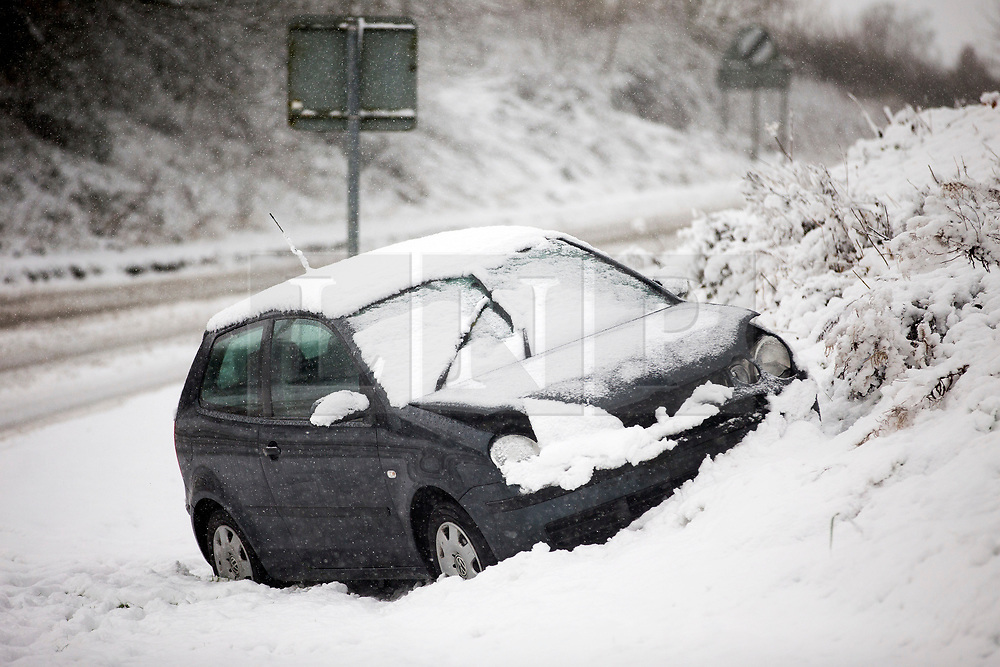 © Licensed to London News Pictures. 30/11/2017. Allerston UK. Picture shows a crashed car in the village of Allerston this morning after a night of heavy snow in North Yorkshire.Photo credit: Andrew McCaren/LNP