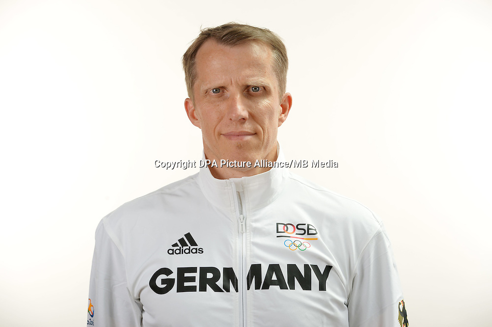 Jörg Roßkopf poses at a photocall during the preparations for the Olympic Games in Rio at the Emmich Cambrai Barracks in Hanover, Germany. July 04, 2016. Photo credit: Frank May/ picture alliance. | usage worldwide
