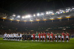 FRANKFURT, GERMANY - Wednesday, November 21, 2007: Wales and Germany players line-up before the final UEFA Euro 2008 Qualifying Group D match at the Commerzbank Arena. (Pic by David Rawcliffe/Propaganda)