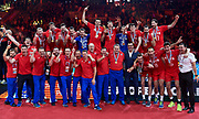 Poland, Krakow - 2017 September 03: Russia volleyball team celebrate their gold medals while awarding ceremony after final match between Germany and Russia during Lotto Eurovolleyball Poland 2017 - European Championships in volleyball at Tauron Arena on September 03, 2017 in Krakow, Poland.<br /> <br /> Mandatory credit:<br /> Photo by &copy; Adam Nurkiewicz<br /> <br /> Adam Nurkiewicz declares that he has no rights to the image of people at the photographs of his authorship.<br /> <br /> Picture also available in RAW (NEF) or TIFF format on special request.<br /> <br /> Any editorial, commercial or promotional use requires written permission from the author of image.