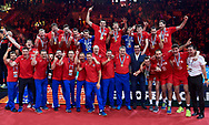 Poland, Krakow - 2017 September 03: Russia volleyball team celebrate their gold medals while awarding ceremony after final match between Germany and Russia during Lotto Eurovolleyball Poland 2017 - European Championships in volleyball at Tauron Arena on September 03, 2017 in Krakow, Poland.<br /> <br /> Mandatory credit:<br /> Photo by © Adam Nurkiewicz<br /> <br /> Adam Nurkiewicz declares that he has no rights to the image of people at the photographs of his authorship.<br /> <br /> Picture also available in RAW (NEF) or TIFF format on special request.<br /> <br /> Any editorial, commercial or promotional use requires written permission from the author of image.