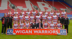 WIGAN, ENGLAND - Monday, January 28, 2008: Wigan Warriors' team photo for the 2008 Super League season...Back row L-R: Ben Kavanagh, Joel Tomkins, Stuart Fielden, Pat Richards, Karl Pryce, Andy Coley, Liam Colbon, Gareth Hock, Harrison Hansen, Paul Prescott. Middle row L-R: John Pendlebury (Junior Academy Coach), Phil Veivers (Assistant Coach), Eamon O'Carroll, Mark Calderwood, Darrell Goulding, Richard Mathers, Iafeta Paleaaesina, Phil Bailey, Thomas Coyle, Mark Flanagan, Mike Forshaw (Strength & Conditioning Coach), Rebecca Hodgkiss (Physiotherapist), Front row L-R: Michael McIlorum, Thomas Leuluai, Trent Barrett, Brian Noble (Head Coach), Ian Lenagan(Owner and Chairman), Sean O'Loughlin (Captain), Mick Higham, George Carmont...(Photo by David Rawcliffe/Propaganda)