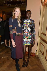 Left to right, JADE PARFITT and ALEK WEK at the Sindika Dokolo Art Foundation Dinner held at The Cafe Royal, Regent Street, London on 18th October 2014.