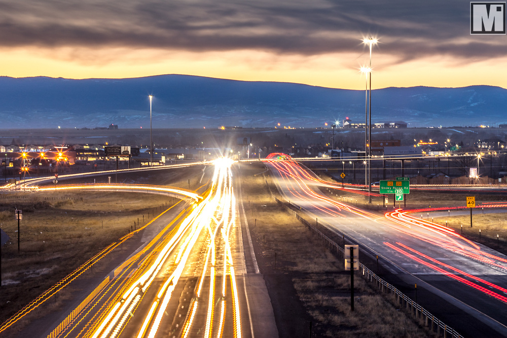 Transportation, traffic on I-80 and 15th Street in Laramie, Wyoming.