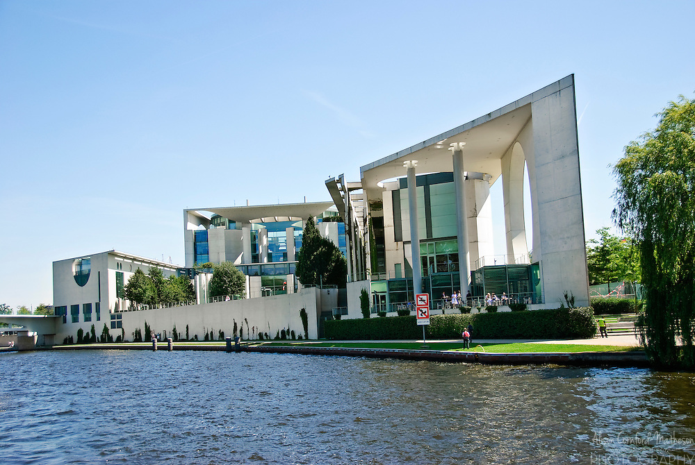 A view of the Bundeskanzleramt or German Chancellery from the Spree River in Berlin.