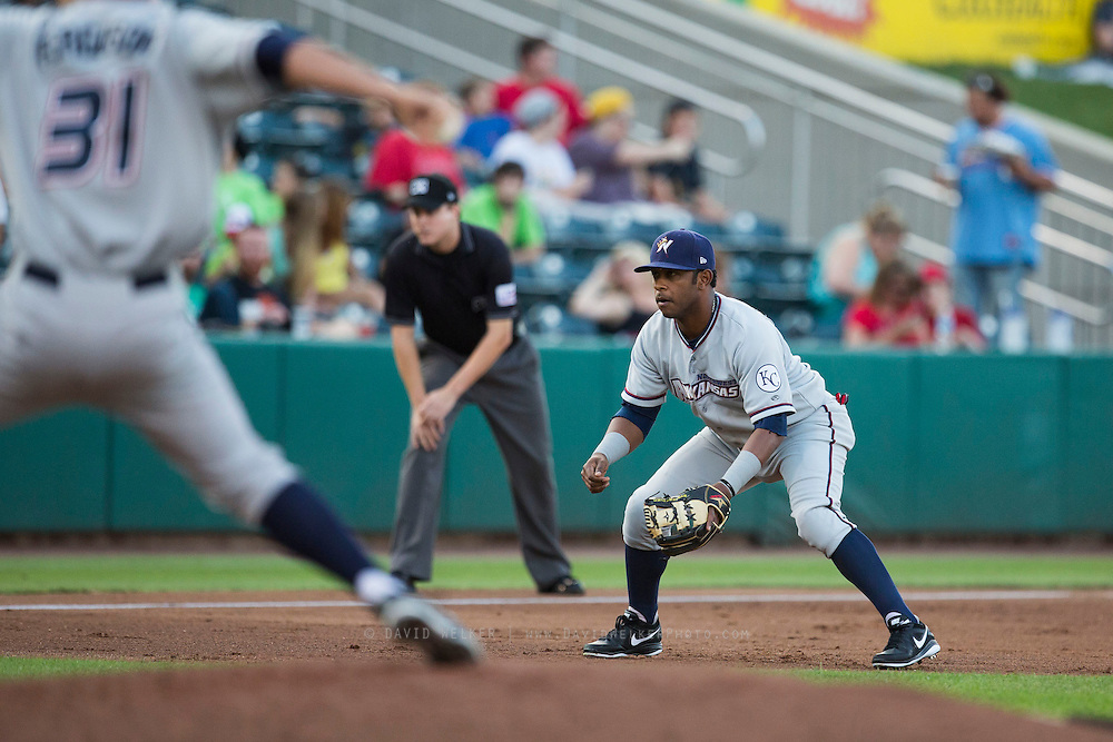 Cheslor Cuthbert (13) of the Northwest Arkansas Naturals stands on defense during a game against the Springfield Cardinals at Hammons Field on August 20, 2013 in Springfield, Missouri. (David Welker)