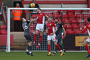 #17 Paul Green wins header for Crewe from 26 Harry Anderson for Lincoln City during the EFL Sky Bet League 2 match between Crewe Alexandra and Lincoln City at Alexandra Stadium, Crewe, England on 26 December 2018.