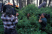 Two film crews record a USAF (United States Air Force) aviator, in training during week-long survival course held at the Fairchild Air Force Base, Spokane, Washington, on 6th August 1995, in Spokane, Washington, USA. The course is aimed at highy-trained personnel conducting a survival, escape and evasion course which combat pilots and air crew need to pass before rejoining their units for real-time warfare. Held in hangars and the surrounding forests, it forms part of an extensive physical and psychological assessment of young aviators on active service. In the future any one of them may be shot down behind enemy lines and need to use the lessons passed-on here to help facilitate their rescue by US forces. One pilot who passed this course in 1991, himself a Spokane-born boy, was F-16 pilot Scott O'Grady. He put his skills learned here to the test while evading Serb forces before being airlifted to safety and a hero's Presidential welcome.