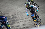 #8 during practice at the 2018 UCI BMX World Championships in Baku, Azerbaijan.