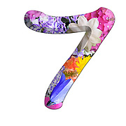 The number Seven Part of a set of letters, Numbers and symbols of 3D Alphabet made with colourful floral images on white background