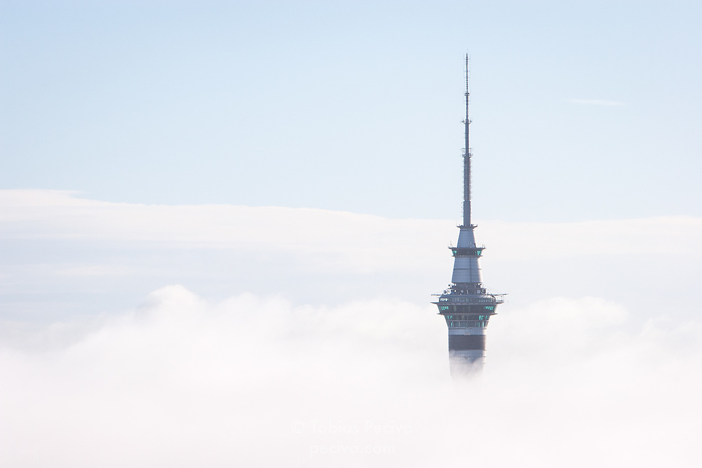The 328 meter Sky Tower rises above early morning fog in Auckland, New Zealand.