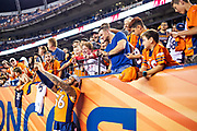 DENVER, CO - AUGUST 11:  Shane Ray #56 of the Denver Broncos shoots a selfie with fans during a game against the Minnesota Vikings during week one of the preseason at Broncos Stadium at Mile High on August 11, 2018 in Denver, Colorado.  The Vikings defeated the Broncos 42-28.  (Photo by Wesley Hitt/Getty Images) *** Local Caption *** Shane Ray