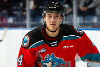 KELOWNA, BC - NOVEMBER 6: Devin Steffler #4 of the Kelowna Rockets warms up on the ice against the Victoria Royals at Prospera Place on November 6, 2019 in Kelowna, Canada. (Photo by Marissa Baecker/Shoot the Breeze)