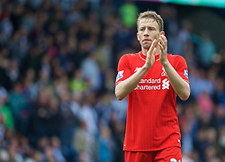 WEST BROMWICH, ENGLAND - Sunday, May 15, 2016: Liverpool's Lucas Leiva applauds the supporters after the 1-1 draw against West Bromwich Albion during the final Premier League match of the season at the Hawthorns. (Pic by David Rawcliffe/Propaganda)