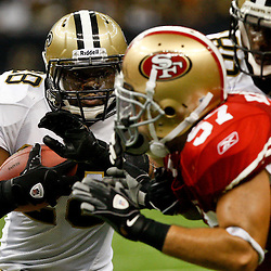 August 12, 2011; New Orleans, LA, USA; New Orleans Saints running back Mark Ingram (28) during the second half of a preseason game against the San Francisco 49ers at the Louisiana Superdome. The New Orleans Saints defeated the San Francisco 49ers Mandatory Credit: Derick E. Hingle