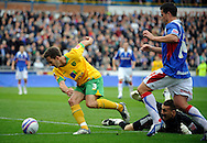 Carlisle - Saturday October 10th, 2008: Adam Drury of Norwich City misses an open goal after beating Carlisle goalkeeper Lenny Pidgeley during the Coca Cola League One match at Brunton Park, Carlisle. (Pic by Jed Wee/Focus Images)..