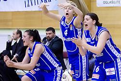 Ana Turcinovic, Matea Tavic, Anja Klavzar of Merkur at 4th final match of Slovenian women basketball 1st league between Hit Kranjska Gora and ZKK Merkur Celje, on May 13, 2010, in Arena Vitranc, Kranjska Gora, Slovenia. Celje defeated Kr. Gora 71-60 and the result after 4th match is 2-2. (Photo by Vid Ponikvar / Sportida)
